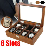 8 Slots Wooden Watch Box Case Display Jewelry Bracelet Collection Storage Holder