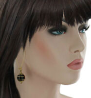 """Black Beaded Dangle Pierced Earrings Gold Tone 2 3/4"""""""