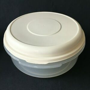 Vintage Rubbermaid Servin Saver No. 5 Round 22 Cup Container Sheer W Almond Lid