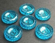 6 Brillantes Clásico Checo Turquesa Vidrio Botones 13mm