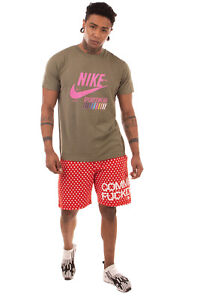 NIKE T-Shirt Top Size L Garment Dye Coated Logo Front Short Sleeve Crew Neck