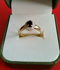 NEW.9ct Gold Black Sapphire & Diamond Cluster Ring.Size L .rrp £189.99 last ones