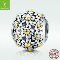 Golden Flower 925 Sterling Silver Bead Charm  For Fashion Bracelet Jewelry Chain