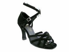 Women's 1657 Black Nubuck Swing Ballroom Salsa Latin Dance Shoes heel 3 Size 7.5