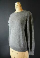 Vintage 1950s 50s Pringle Scotland Grey Lambswool Wool Sweater Pin-Up S M