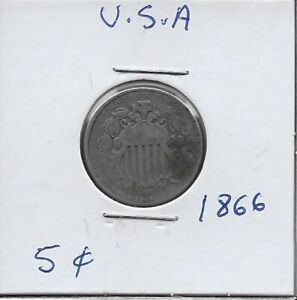 U.S.A 5 CENTS 1866 F DRAPED GARLAND ABOVE SHIELD,DATE BELOW,VALUE WITHIN CENTER