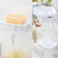 2PCs Hard Plastic Soap Dish Holder Bathroom Shower Tray With Hook Suction Cup