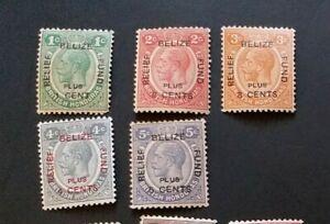 BRITISH HONDURAS 1932 1c + 1c to 5c + 5c 138 - 142 Sc B1 - B5 set 5 MLH