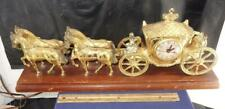 VTG United Clock Gold Horse Drawn Carriage Stagecoach Mantle Shelf Desk Queens