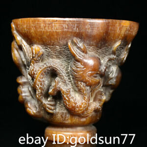 """5.1""""Old China  handmade Exquisite double dragon playing pearl ox horn cup"""