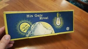"""Antique vintage 1914 EDISON MAZDA LAMP """"His Only Rival"""" NOS box of 5 bulbs"""