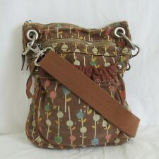 Fossil Brown Canvas Floral Crossbody Bag Purse