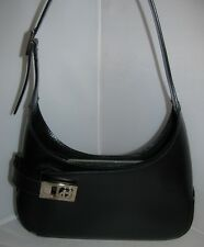 SALVATORE FERRAGAMO ITALY BLACK GANCINI LEATHER HANDBAG_PURSE