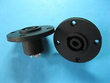 15 Pcs SPEAKON 4 Pole Female Jack Compatible Audio Cable Connector Black Round