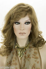 Light Gold Brown Brunette Long Human Hair  Monofilament Hand Tied Wavy Stra Wigs