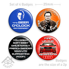"GENE HUNT Life on Mars Ashes to Ashes AUDI QUATTRO TV -  1"" Badge x4 Badges NEW"