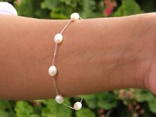 White Cultured Freshwater Pearl Tincup Bracelet 6-7mm 925 SOLID Sterling Silver