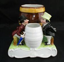 "Antique CIGAR HOLDER Jar Figurine Regency Gentlemen Barrels 5"" AS IS"