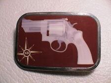 SB SCHROEDER BAUMAN PISTOL REVOLVER GUN MENS CHROME METAL & ENAMEL BELT BUCKLE