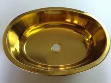 RV Caravan Camper Boat SS Oval Golden Hand Wash Basin Sink 393*273*130mm GR-518G