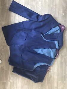Moss Bross 3 Piece Suit Navy Blue 56 In Chest