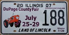 "Illinois 2007 ""Dupage County Fair"" USA Number License Plate American Tractor 188"