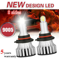 4-Sides CSP 9005/HB3 LED Headlight Bulbs Kit 2600W 460000LM Mini Fog Lamp 6000K