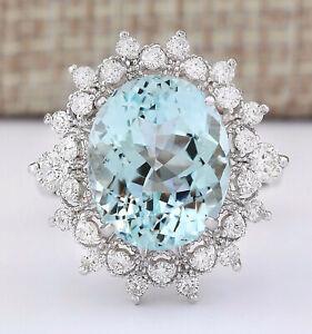 7.75 Carat Natural Aquamarine 14K White Gold Diamond Ring