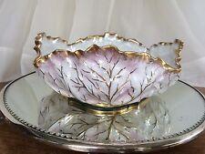 "Prussia German Porcelain Bowl Pink & Gold Large 9 1/2 "" Centerpiece  Antique"