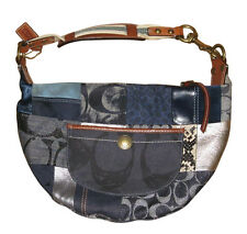 Coach Fabulous Blue Denim Patchwork Hobo Shoulder Bag Purse