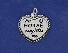 Pony Charm My HORSE Completes Me Pendant Sterling Silver Pl Horseshoe Rope Heart