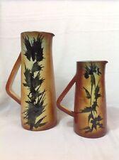 Poterie d'ACCOLAY 2 pichets céramique c1970 Décor chardons Chic vintage