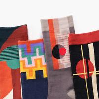 Autumn Winter Cartoon Geometric Printed Mens Socks Funny Art Cotton Stocking