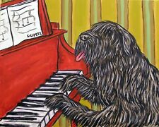 Piano art bouvier des Flandres dog Print poster gift modern folk 8x10 Jschmetz