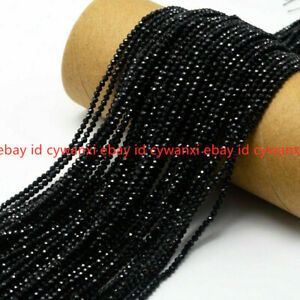 Wholesale 10 Strand 2mm Bright Quality Black Spinel Round Faceted Gem Loose Bead