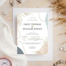 10 Wedding Invitations Day/Evening Gold Floral Simple Elegant