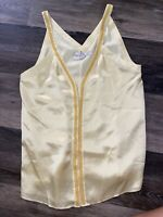 Banana Republic Heritage Women's Silk Blouse Beaded neckline Size XS Yellow