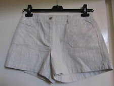 Cream & Multicoloured Pinstripe Denim Style Cotton Shorts by Next in Size 10