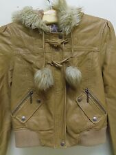 LIPSY LONDON, LIGHT BROWN (TAN) FAUX LEATHER BIKER JACKET WITH POM POMS UK 12