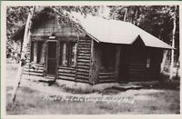 Vintage Antique Michigan MI RPPC  Postcard Thrush Big Lake Camp Cabin Gaylord