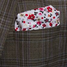Premium Mens White & Red Retro Wedding Floral Cotton Pocket Square / Hanky