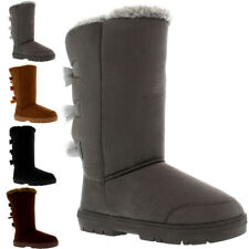 Womens Triplet Bow Tall Classic Fur Waterproof Winter Snow Boot Ladies All Sizes