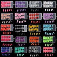 100pcs False Acrylic Gel French Manicure Nail Art Half Tips Decor 8 Color Women