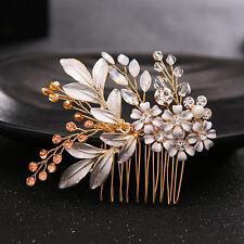Gold Enamel Flower Crystal Hair Combs Tiaras Wedding Hair Pins Hair Accessories