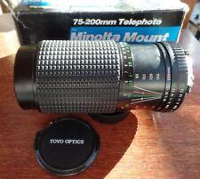 Minolta MD Mount Toyo Optics 1:4.5 75-200mm MC Auto Macro Zoom Lens BOXED