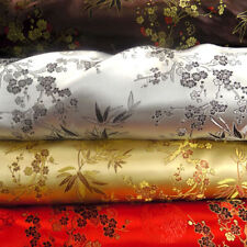 Chinese Brocade Polyester Floral Dressmaking Fabric - leaves, flowers, blossom