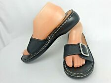 Clarks 10 Black Leather Sandals Open Back Slides Silver Buckle Stitching BC3012