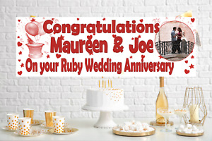 Large Personalised Ruby Wedding Anniversary Banner Party Decorations Photo 40th