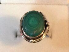 Malachite Ring, Size 7.5 0397: Vintage Sterling Silver Oval