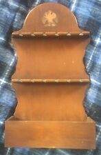 Vintage Colonial Wooden 12 Slot Pewter Spoon Holder Wall Display Rack Candle Box